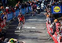 Silvan Dillier (SUI/BMC) leads the race in the 2nd ascent of the infamous Mur de Huy (1300m/9.8%)<br /> <br /> Flèche Wallonne 2016