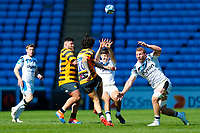 25th April 2021; Ricoh Arena, Coventry, West Midlands, England; English Premiership Rugby, Wasps versus Bath Rugby; Jacob Umaga of Wasps clears under pressure from Orlando Bailey and Sam Underhill of Bath Rugby
