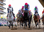 MAY 01, 2021: Medina Spirit leads the field past the grandstand for the first time in the Kentucky Derby at Churchill Downs in Louisville, Kentucky on May 1, 2021. EversEclipse Sportswire/CSM