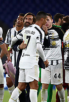 Football, Serie A: AS Roma - Juventus, Olympic stadium, Rome, September 27, 2020. <br /> Juventus' coach Andrea Pirlo (l) greets  Juventus' Cristiano Ronaldo (r) at the end of the Italian Serie A football match between Roma and Juventus (2-2) at Olympic stadium in Rome, on September 27, 2020. <br /> UPDATE IMAGES PRESS/Isabella Bonotto
