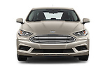 Car photography straight front view of a 2017 Ford Fusion SE-FWD 4 Door Sedan Front View
