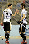 Berlin, Germany, February 09: During the FIH Indoor Hockey World Cup Pool A group match between Germany (white) and Trinidad and Tobago(red) on February 9, 2018 at Max-Schmeling-Halle in Berlin, Germany. Final score 10-2. (Photo by Dirk Markgraf / www.265-images.com) *** Local caption *** Christopher RUEHR #17 of Germany, Martin ZWICKER #20 of Germany