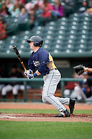 Burlington Bees first baseman Brennan Morgan (31) follows through on a swing during a game against the Great Lakes Loons on May 4, 2017 at Dow Diamond in Midland, Michigan.  Great Lakes defeated Burlington 2-1.  (Mike Janes/Four Seam Images)
