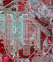 color infrared aerial photograph Dallas Fort Worth airport DFW Texas