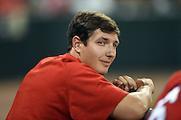 Oklahoma City RedHawks pitcher Asher Wojciechowski (34) in the dugout during a game against the Memphis Redbirds on May 23, 2014 at AutoZone Park in Memphis, Tennessee.  Oklahoma City defeated Memphis 12-10.  (Mike Janes/Four Seam Images)