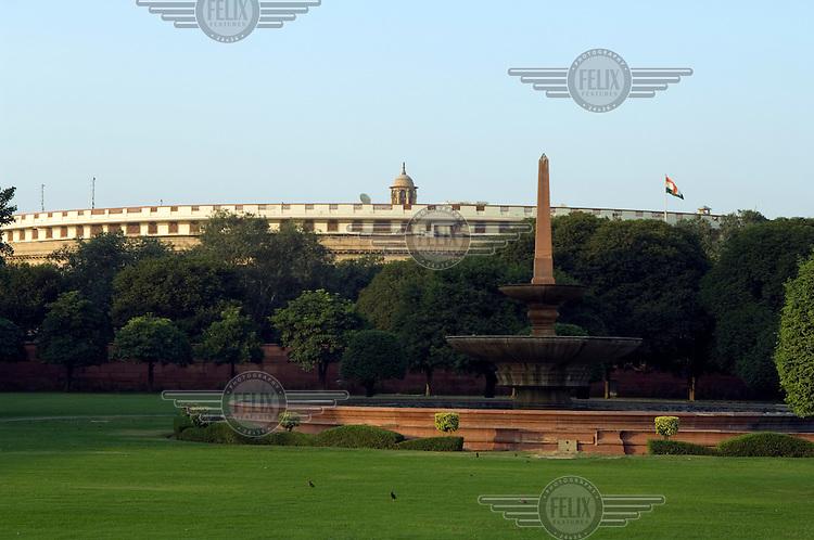Parliament House, designed by British architect Edwin Lutyens along Rajpath, the ceremonial boulevard in Delhi.