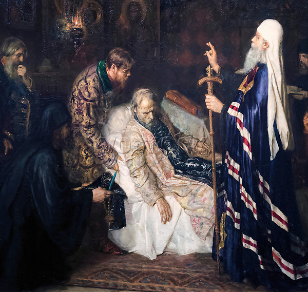 2A609HH Detail of Metropolitan, Tonsuring Ivan the Terrible into Schema Before His Death by Pyotr Geller.  Ivan IV Vasilyevich, 1530 - 1584,  Tsar of Russia