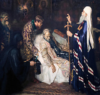 2A609HH Detail of Metropolitan, Tonsuring Ivan the Terrible into Schema Before His Death by Pyotr Geller.  Ivan IV Vasilyevich, 1530 - 1584,  Tsar of Russia