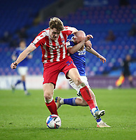 16th March 2021; Cardiff City Stadium, Cardiff, Glamorgan, Wales; English Football League Championship Football, Cardiff City versus Stoke City; Harry Souttar of Stoke City and Jonathan Williams of Cardiff City challenge for the ball