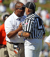 Oct 2, 2010; Charlottesville, VA, USA; Virginia head coach Mike London reacts to a call during the game against the Florida State Seminoles at Scott Stadium. Florida State won 34-14.  Mandatory Credit: Andrew Shurtleff