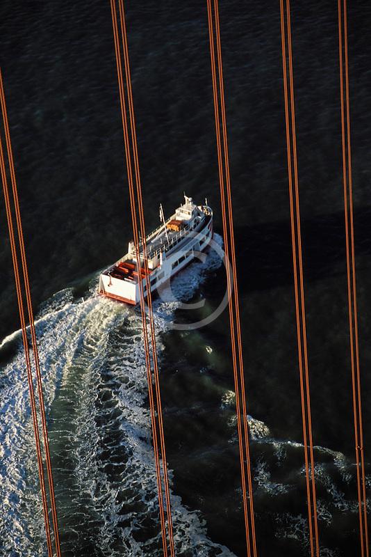 California, San Francisco Bay, Red and White fleet under Golden Gate bridge