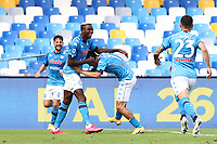 Hirving Lozano of SSC Napoli celebrates with  Victor Osimhen <br /> during the Serie A football match between SSC Napoli and Atalanta BC at stadio San Paolo in Napoli (Italy), October 17th, 2020. <br /> Photo Cesare Purini / Insidefoto