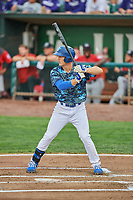 James Outman (47) of the Ogden Raptors bats against the Billings Mustangs at Lindquist Field on August 17, 2018 in Ogden, Utah. Billings defeated Ogden 6-3. (Stephen Smith/Four Seam Images)
