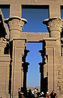 Trajan's Kiosk is a hypaethral temple located on Agilkia Island. One of the largest Ancient Egyptian monuments standing today, it was constructed by the Roman Emperor, Trajan. The edifice was originally built on the island of Philae, near the lower Aswan Dam.  Later transported to Agilika in the 1960s by UNESCO to save it from being enveloped by the rising waters of the Nile. (Wikipedia source)