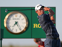 17th July 2021; Royal St Georges Golf Club, Sandwich, Kent, England; The Open Championship Golf, Day Three; Collin Morikawa (USA) hits his tee shot on the 17th hole