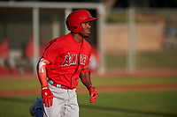 AZL Angels Drevian Williams-Nelson (6) runs to first base during a game against the AZL Giants Orange at Giants Baseball Complex on June 17, 2019 in Scottsdale, Arizona. AZL Giants Orange defeated AZL Angels 8-4. (Zachary Lucy/Four Seam Images)