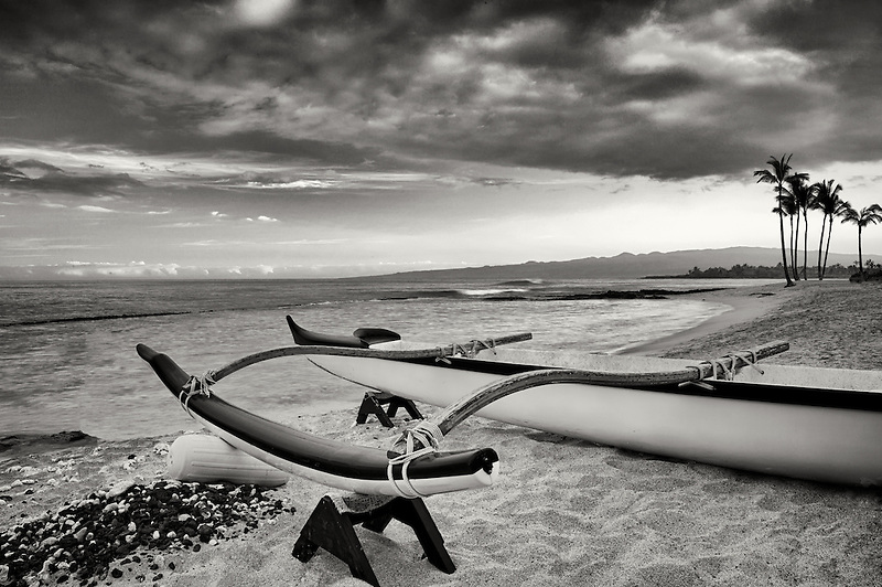 Outrigger canoe on the Kohala Coast at sunrise. The Big Island, Hawaii.