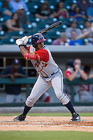 Hector Olivera (15) of the Gwinnett Braves at bat against the Charlotte Knights at BB&T BallPark on August 24, 2015 in Charlotte, North Carolina.  The Knights defeated the Braves 3-2.  (Brian Westerholt/Four Seam Images)