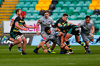 13th March 2021; Franklin's Gardens, Northampton, East Midlands, England; Premiership Rugby Union, Northampton Saints versus Sale Sharks; Lood de Jager of Sale Sharks is stopped by the Northampton Saints defence