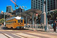 San Francisco:  Ferry Building Plaza--vintage street car.