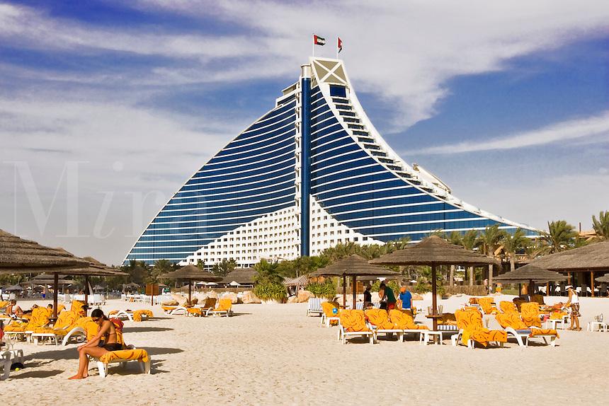 Jumeirah Beach Hotel and Jumeirah Beach. Dubai. United Arab Emirates.