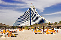 Jumeirah Beach Hotel and Jumeirah Beach. Dubai. United Arab Emirates.