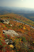 North Carolina, NC, View of Rough Ridge and the Blue Ridge Parkway from Grandfather Mountain in the fall.