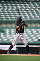 Pittsburgh Pirates second baseman Rodolfo Castro (32) at bat during a Florida Instructional League game against the Baltimore Orioles on September 22, 2018 at Ed Smith Stadium in Sarasota, Florida.  (Mike Janes/Four Seam Images)