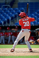 Washington Nationals Jamori Blash (30) at bat during a Florida Instructional League game against the Miami Marlins on September 26, 2018 at the Marlins Park in Miami, Florida.  (Mike Janes/Four Seam Images)