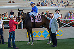 AUG 15,2014:Istanford,ridden by Rafael Bejarano,wins the Sandy Blue Handicap at Del Mar in Del Mar,CA. Kazushi Ishida/ESW/CSM