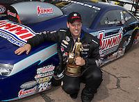 Apr. 28, 2013; Baytown, TX, USA: NHRA pro stock driver Jason Line celebrates after winning the Spring Nationals at Royal Purple Raceway. Mandatory Credit: Mark J. Rebilas-