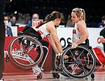 Elodie Tessier and Puisand Lai, Tokyo 2020 - Wheelchair Basketball // Basketball en fauteuil roulant.<br /> Canada takes on the USA in the wheelchair basketball quarterfinal // Le Canada affronte les États-Unis en quart de finale de basketball en fauteuil roulant. 31/08/2021.