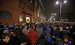 Rangers fans protesting at the front door