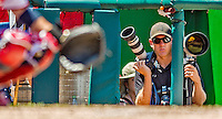 25 July 2013: Associated Press Photographer Evan Vucci is prepared to take images at a game between the Pittsburgh Pirates and the Washington Nationals at Nationals Park in Washington, DC. The Nationals salvaged the last game of their series, winning 9-7 ending their 6-game losing streak. Mandatory Credit: Ed Wolfstein Photo *** RAW (NEF) Image File Available ***
