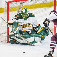 18 December 2016: University of Vermont Catamount Goaltender Mike Santaguida, a Senior from Mississauga, Ontario, makes a third period save against the Union College Dutchmen at Gutterson Fieldhouse in Burlington, Vermont. The Catamounts fell to their former ECAC hockey rivals 2-1, as the Dutchmen sweep the two-game weekend series. Mandatory Credit: Ed Wolfstein Photo *** RAW (NEF) Image File Available ***