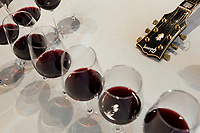 Switzerland. Canton Ticino. Cagiallo. Merlot wine testing for the new Magnificents' 17. On the table, among wine glasses, a guitar Gibson Super Jumbo, SJ-200, belonging to Leo Leoni. The Swiss rock band Gotthard is associated with winemakers Valentina Andrei (Merlot Ivresse from Valais) and Sacha Pelossi (Merlot from Ticino) to create the new assemblage (50-50 from both winemakers) for a unique vintage bottle: Magnificents' 17. Gotthard is a Swiss hard rock band founded in Lugano by Steve Lee and Leo Leoni. Their last eleven albums have all reached number 1 in the Swiss album charts, making them one of the most successful Swiss acts ever. With 2 million albums sold, they managed to get multi-platinum awards in different parts of the world. Cagiallo is a village and and is part of the Capriasca municipality. 25.03.2019 © 2019 Didier Ruef