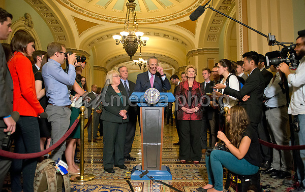 United States Senate Minority Leader Chuck Schumer (Democrat of New York) speaks to reporters following the Democratic Party luncheon in the United States Capitol in Washington, DC on Tuesday, June 27, 2017.  From left to right: US Senator Patty Murray (Democrat of Washington), US Senate Minority Whip Dick Durbin (Democrat of Illinois), Leader Schumer and US Senator Debbie Stabenow (Democrat of Michigan). Photo Credit: Ron Sachs/CNP/AdMedia