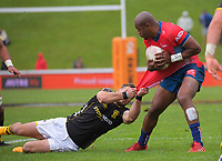 Wes Goosen tries to tackle Tasman's Mark Telea during the Mitre 10 Cup rugby match between Wellington Lions and Tasman Makos at Jerry Collins Stadium in Wellington, New Zealand on Saturday, 31 October 2020. Photo: Dave Lintott / lintottphoto.co.nz