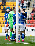 St Johnstone v Dundee…02.10.21  McDiarmid Park.    SPFL<br />Chris Kane celebrates his second goal<br />Picture by Graeme Hart.<br />Copyright Perthshire Picture Agency<br />Tel: 01738 623350  Mobile: 07990 594431