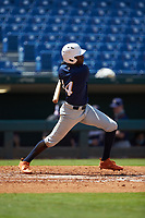 Michael Braswell (14) of Campbell HS in Mableton, GA of the Milwaukee Brewers scout team during the East Coast Pro Showcase at the Hoover Met Complex on August 3, 2020 in Hoover, AL. (Brian Westerholt/Four Seam Images)