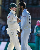 11th January 2021; Sydney Cricket Ground, Sydney, New South Wales, Australia; International Test Cricket, Third Test Day Five, Australia versus India; Steve Smith of Australia and RJasprit Bumrah of India congratulate each other after the drawn match
