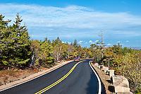 Road leading to the peak of Cadillac Mountain, Acatia National Park, Maine, ME, USA
