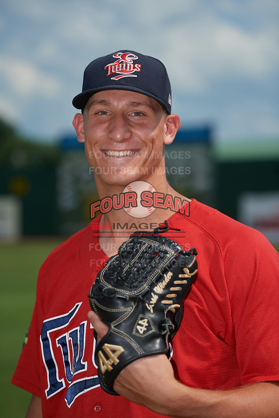 Elizabethton Twins pitcher Josh Winder (38) poses for a photo before a game against the Bristol Pirates on July 29, 2018 at Joe O'Brien Field in Elizabethton, Tennessee.  Bristol defeated Elizabethton 7-4.  (Mike Janes/Four Seam Images)