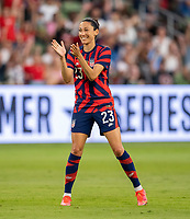 AUSTIN, TX - JUNE 16: Christen Press #23 of the USWNT claps during a game between Nigeria and USWNT at Q2 Stadium on June 16, 2021 in Austin, Texas.