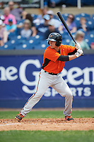 Frederick Keys second baseman Drew Turbin (15) at bat during the first game of a doubleheader against the Wilmington Blue Rocks on May 14, 2017 at Daniel S. Frawley Stadium in Wilmington, Delaware.  Wilmington defeated Frederick 10-2.  (Mike Janes/Four Seam Images)