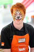Rhys Davies has his face painted