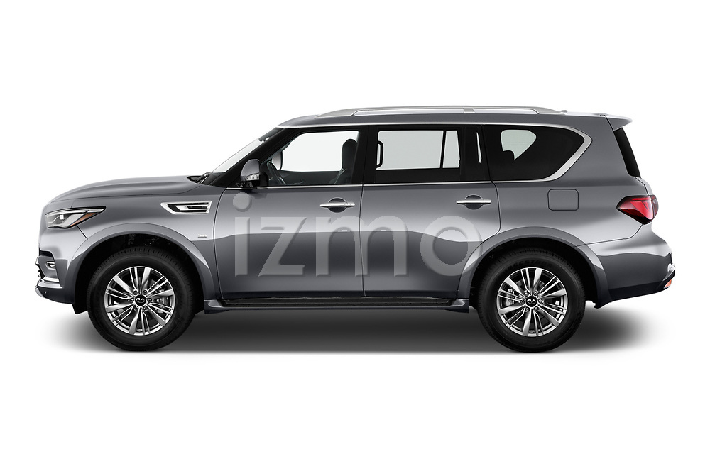 Car driver side profile view of a 2020 Infiniti QX80 Luxe 5 Door SUV