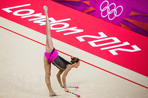 11 AUG 2012 - LONDON, GBR - Joanna Mitrosz (POL) of Poland performs her club routine during the 2012 London Olympic Games Individual All-Around Rhythmic Gymnastics final at Wembley Arena in London, Great Britain (PHOTO (C) 2012 NIGEL FARROW)