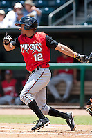 Sean Henry (12) of the  Carolina Mudcats during a game vs. the Jacksonville Suns May 31 2010 at Baseball Grounds of Jacksonville in Jacksonville, Florida. Jacksonville won the game against Carolina by the score of 3-2. Photo By Scott Jontes/Four Seam Images