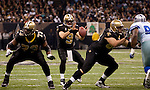 December 2009: New Orleans Saints quarterback Drew Brees (9) lines up in the shotgun formation during an NFL football game at the Louisiana Superdome in New Orleans.  The Cowboys defeated the Saints 24-17.